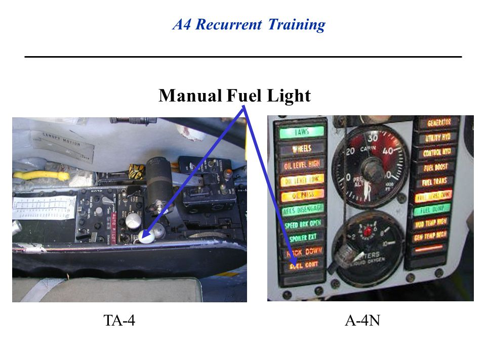Manual Fuel Light TA-4 A-4N Engine Control Panel