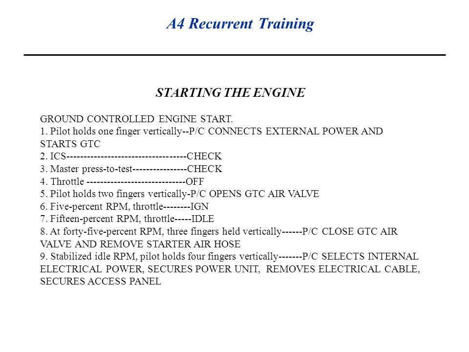 STARTING THE ENGINE GROUND CONTROLLED ENGINE START.
