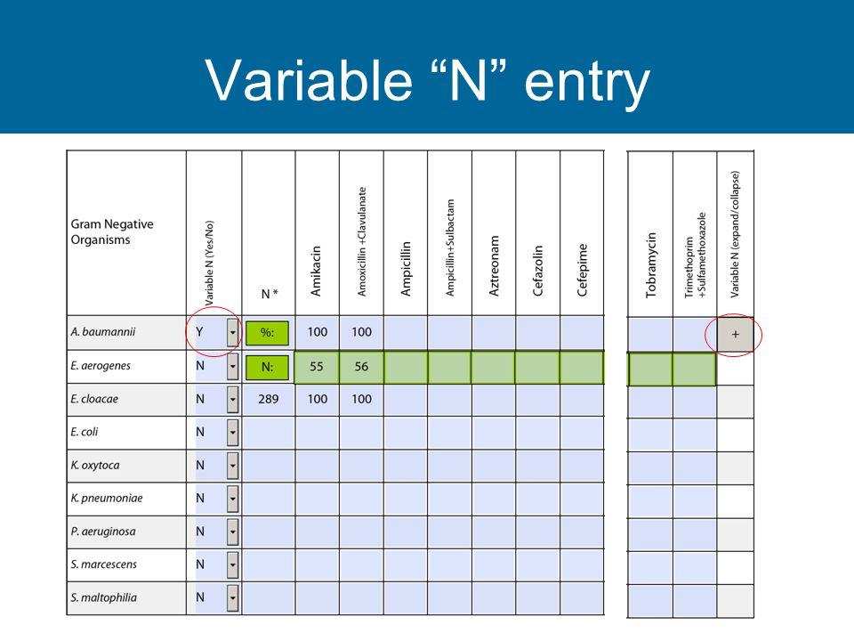 Variable N entry