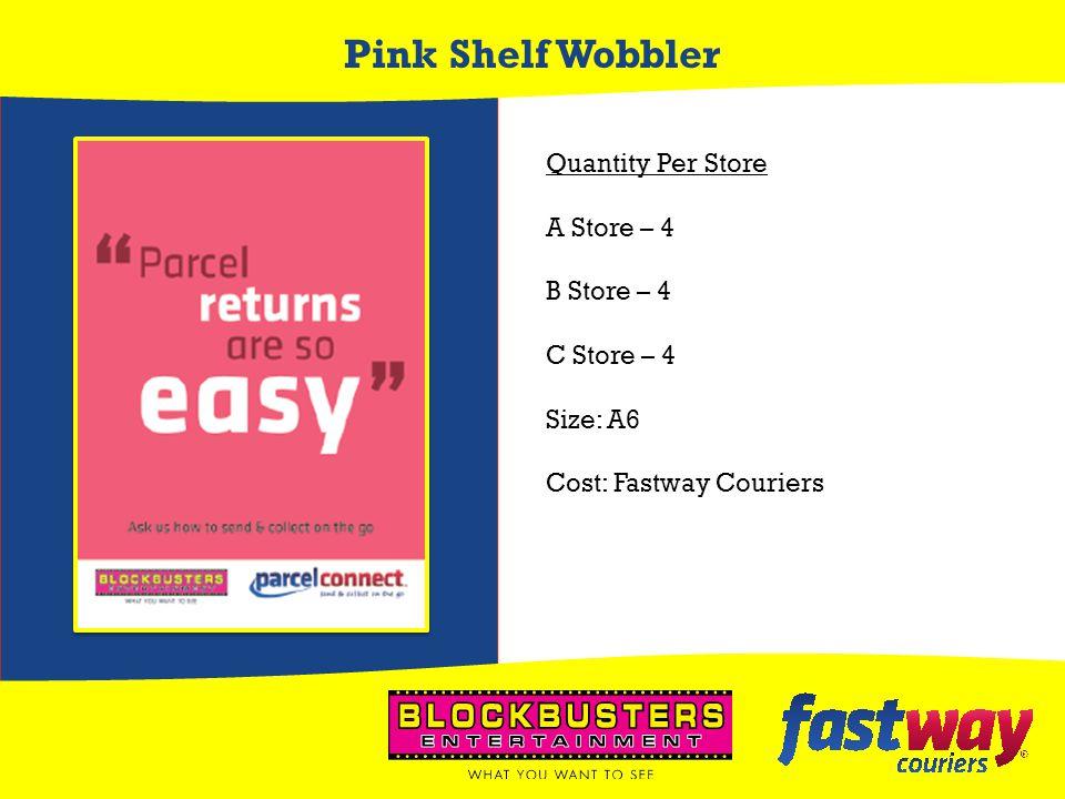 Pink Shelf Wobbler Quantity Per Store A Store – 4 B Store – 4