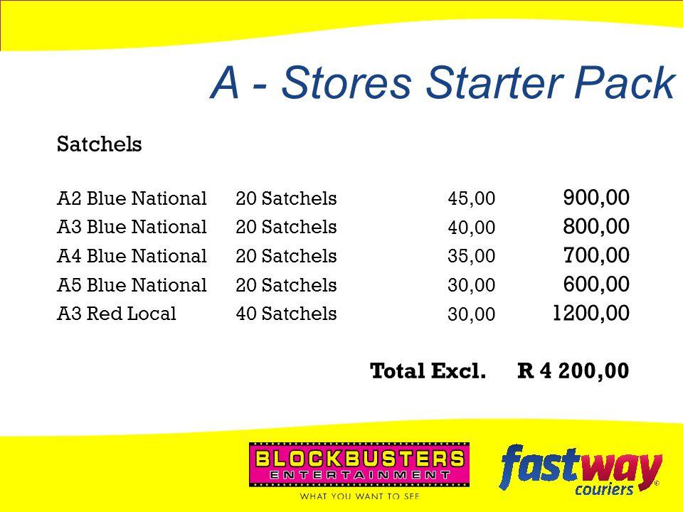 A - Stores Starter Pack Satchels 900,00 800,00 700,00 600,00 1200,00