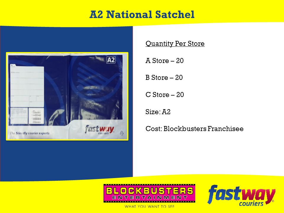 A2 National Satchel Quantity Per Store A Store – 20 B Store – 20