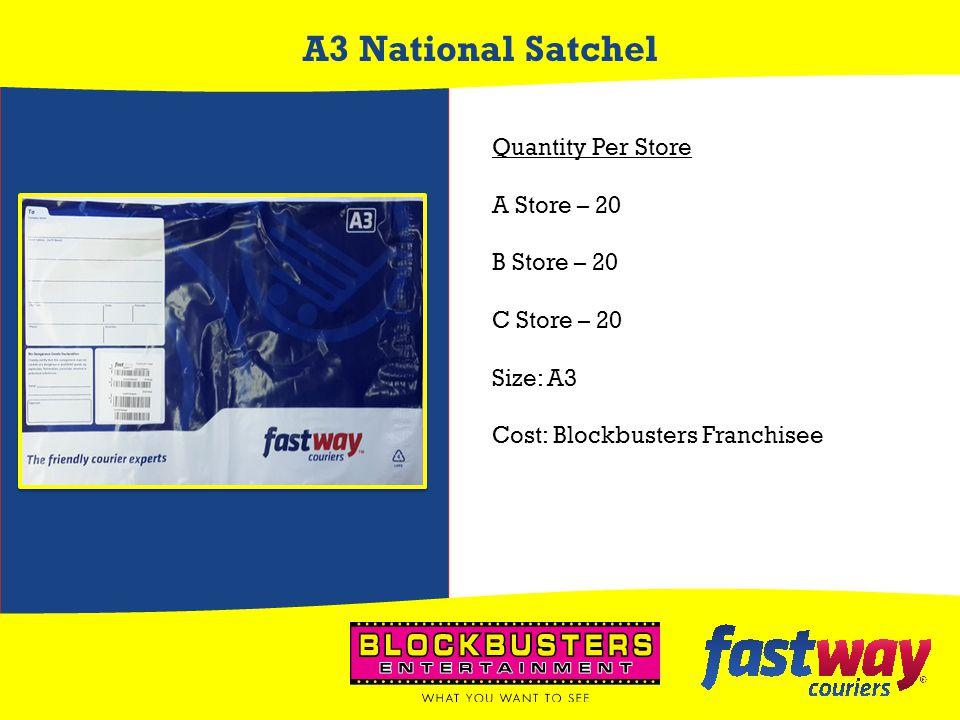 A3 National Satchel Quantity Per Store A Store – 20 B Store – 20