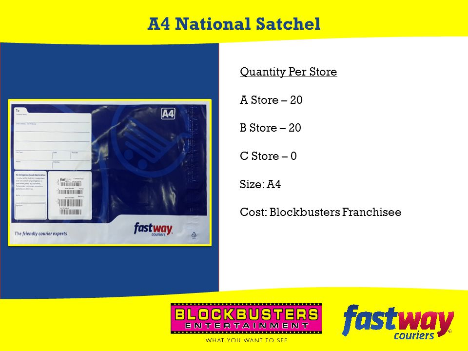 A4 National Satchel Quantity Per Store A Store – 20 B Store – 20