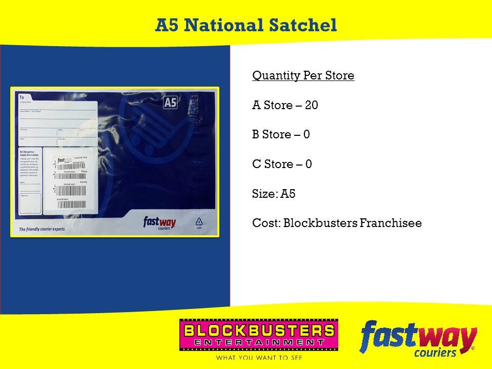 A5 National Satchel Quantity Per Store A Store – 20 B Store – 0