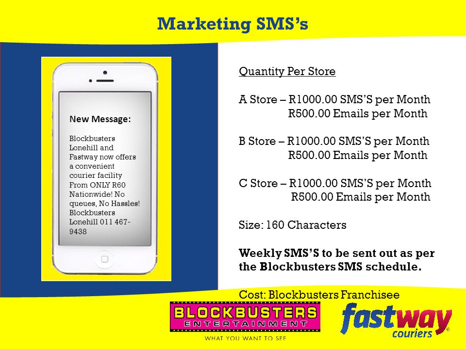 Marketing SMS's Quantity Per Store A Store – R1000.00 SMS'S per Month