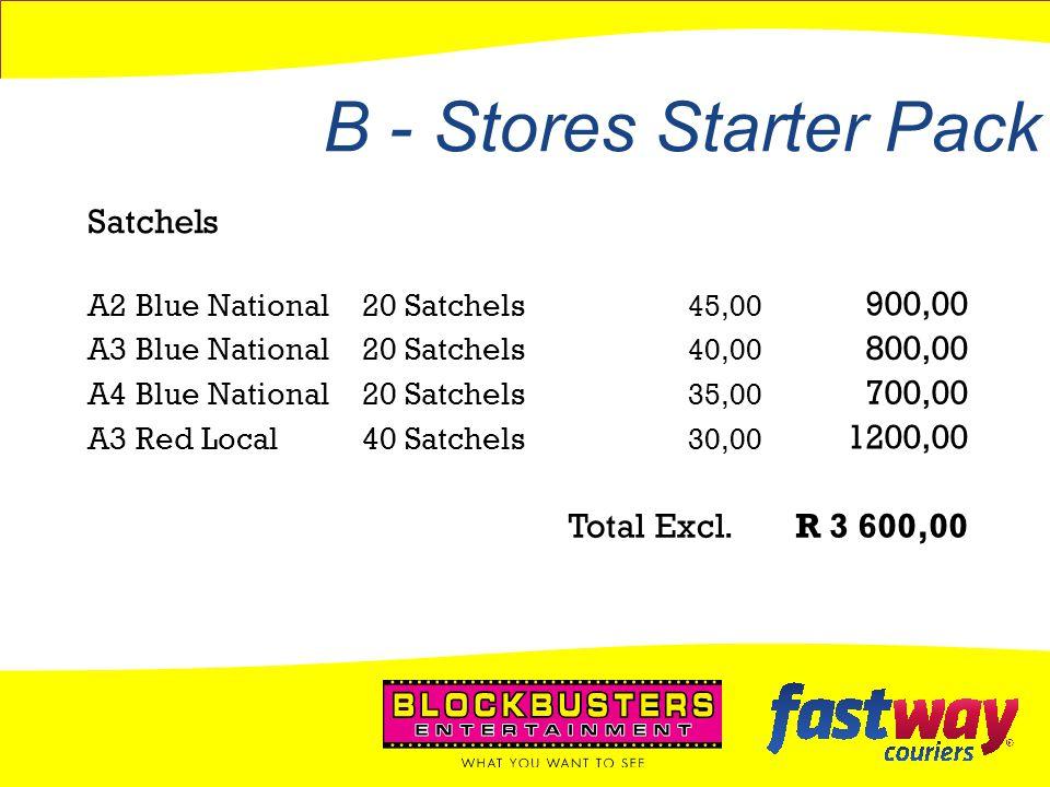 B - Stores Starter Pack Satchels 900,00 800,00 700,00 1200,00