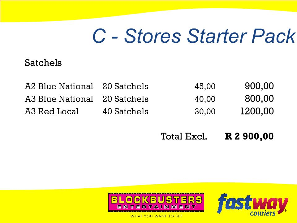 C - Stores Starter Pack Satchels 900,00 800,00 1200,00 Total Excl.