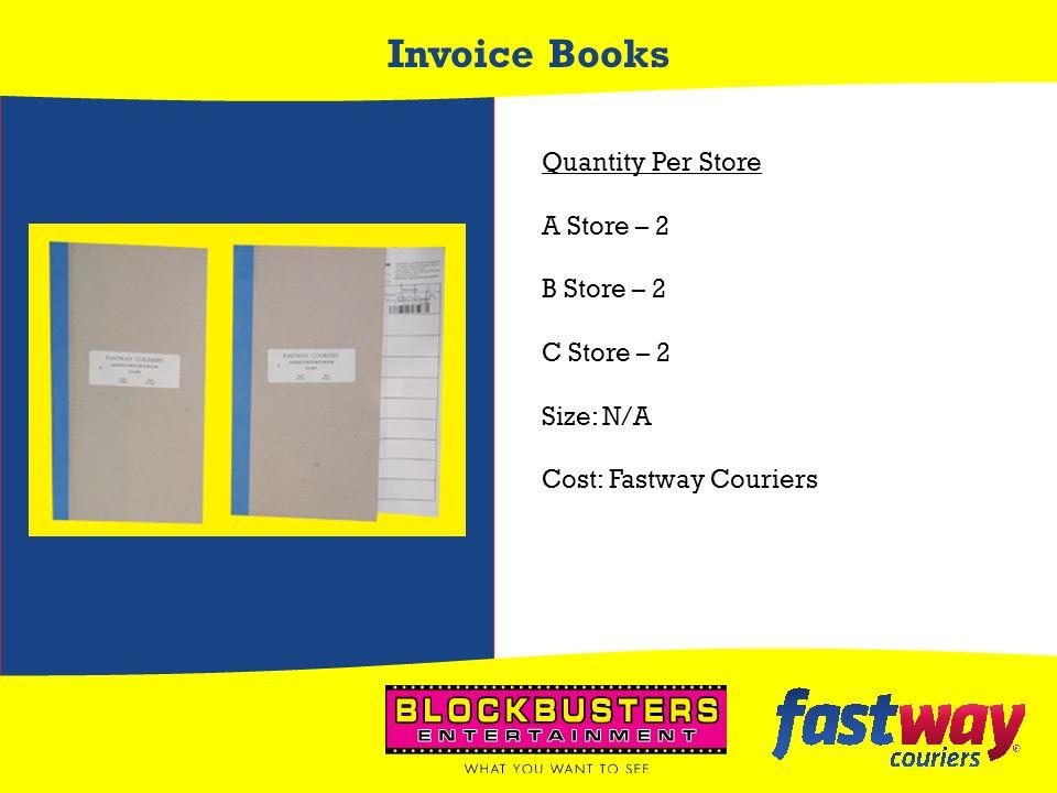 Invoice Books Quantity Per Store A Store – 2 B Store – 2 C Store – 2