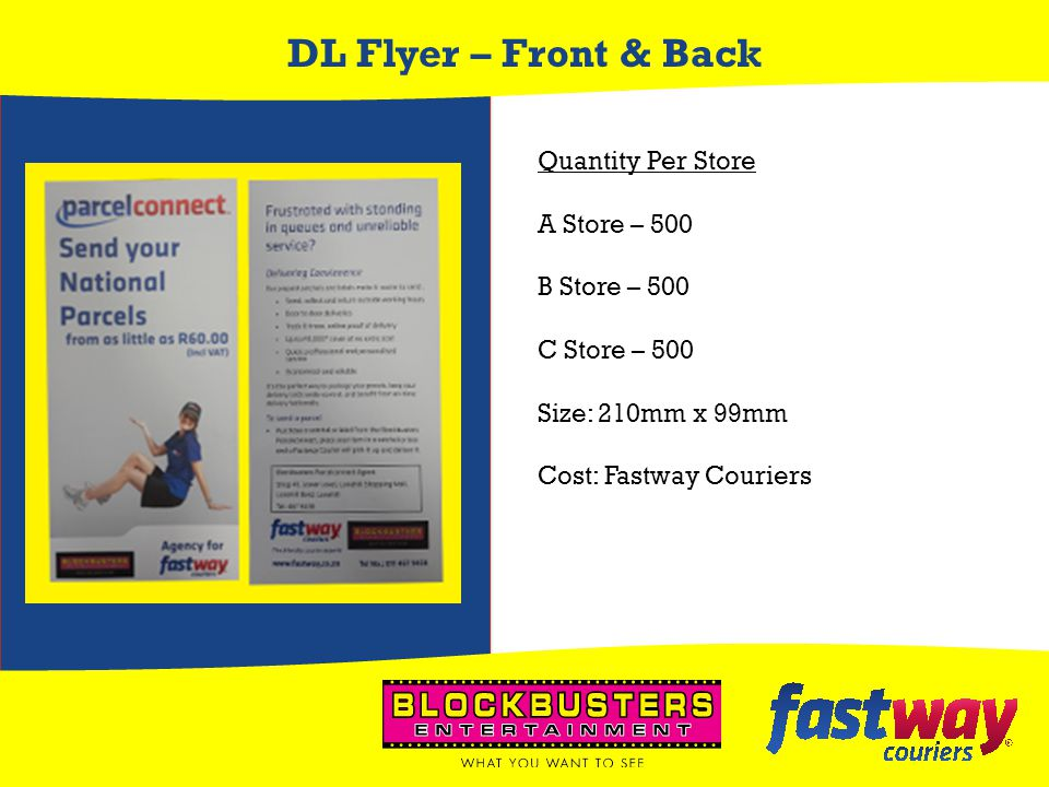 DL Flyer – Front & Back Quantity Per Store A Store – 500 B Store – 500