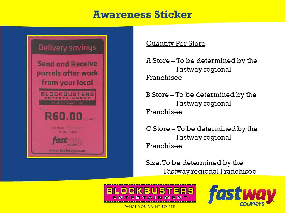 Awareness Sticker Quantity Per Store