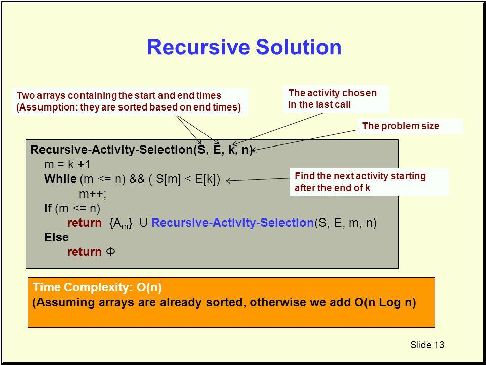 Recursive Solution Recursive-Activity-Selection(S, E, k, n) m = k +1