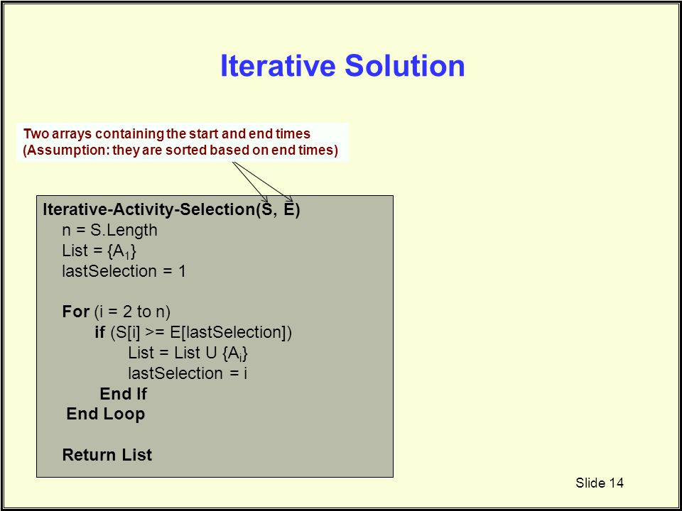 Iterative Solution Iterative-Activity-Selection(S, E) n = S.Length