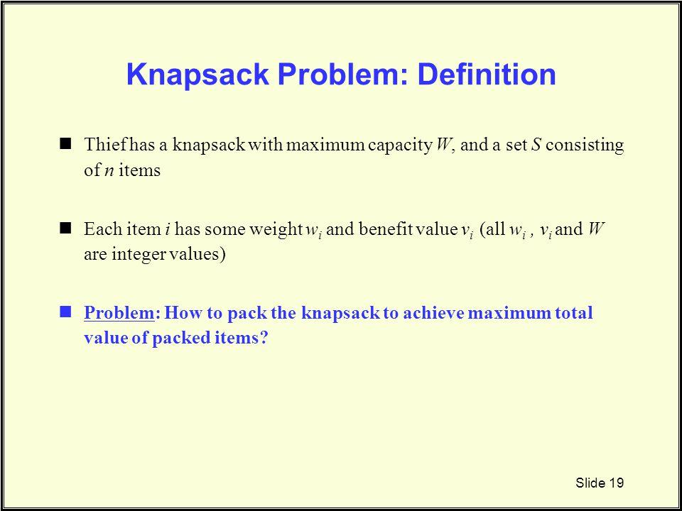 Knapsack Problem: Definition