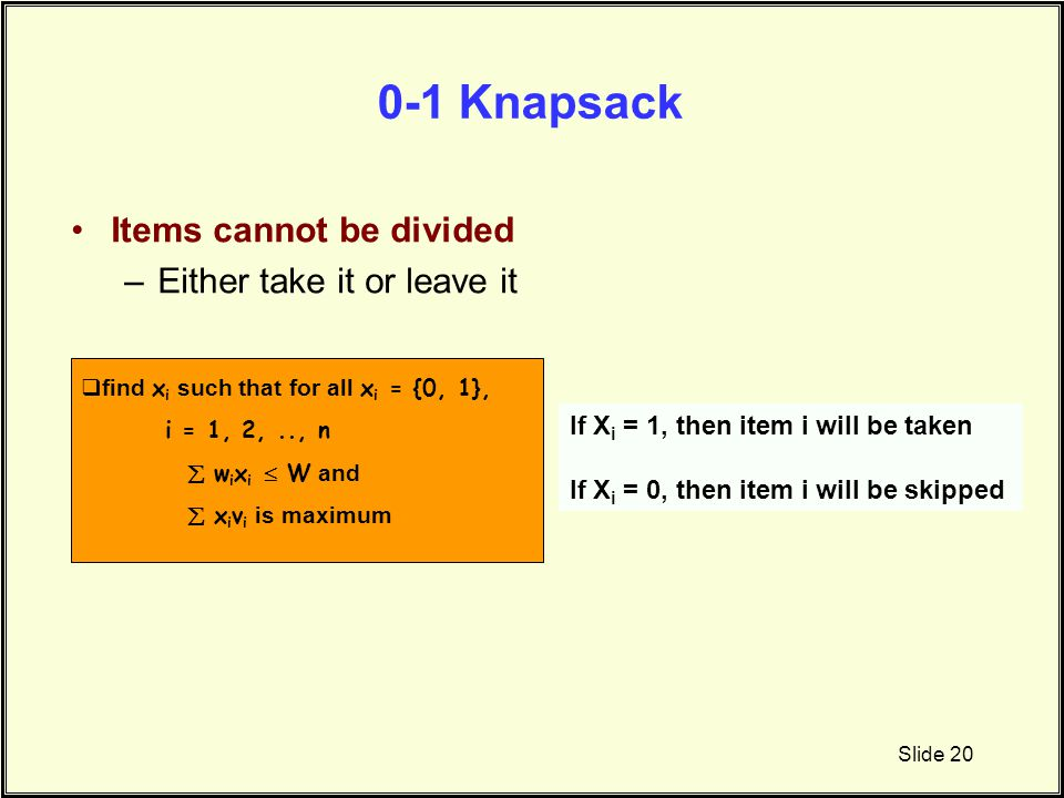 0-1 Knapsack Items cannot be divided Either take it or leave it