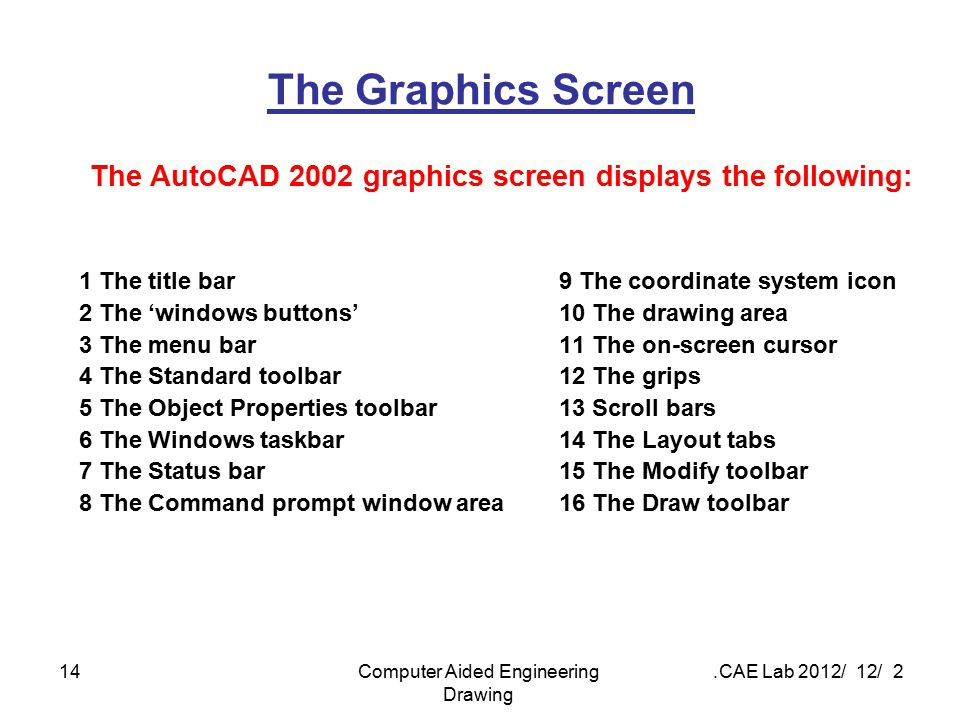 The AutoCAD 2002 graphics screen displays the following: