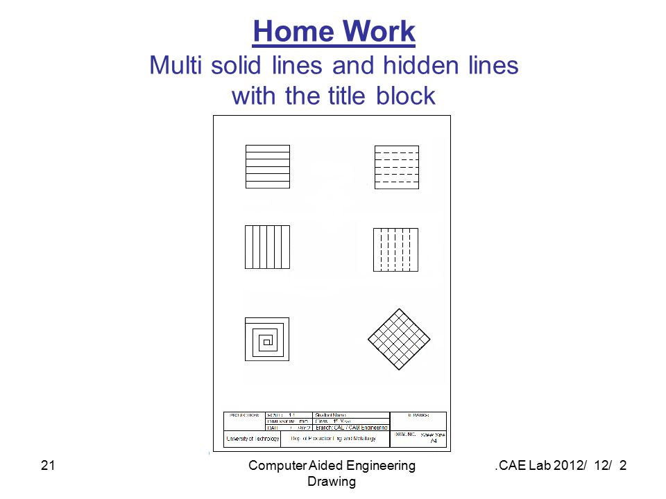 Home Work Multi solid lines and hidden lines with the title block
