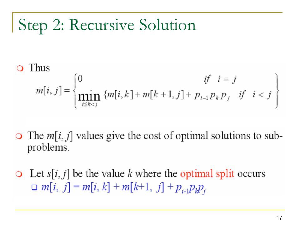 Step 2: Recursive Solution