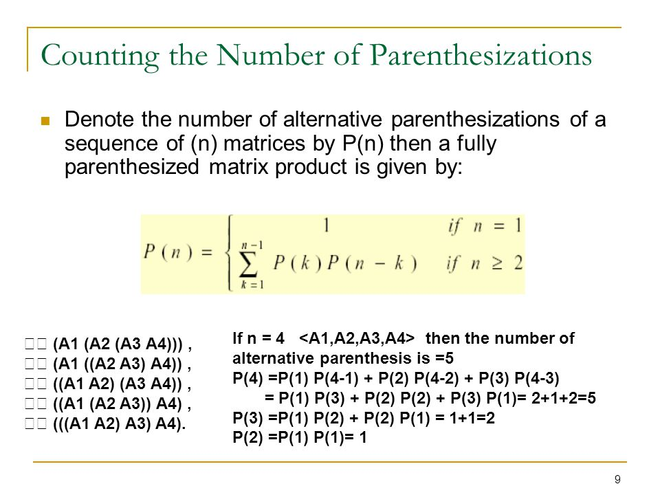 Counting the Number of Parenthesizations