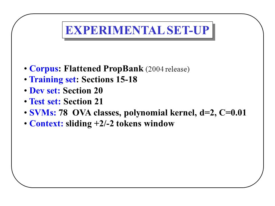 EXPERIMENTAL SET-UP Corpus: Flattened PropBank (2004 release)