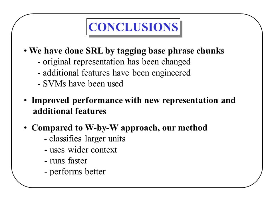 CONCLUSIONS We have done SRL by tagging base phrase chunks