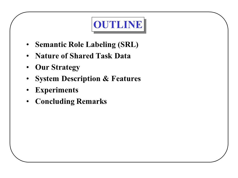 OUTLINE Semantic Role Labeling (SRL) Nature of Shared Task Data