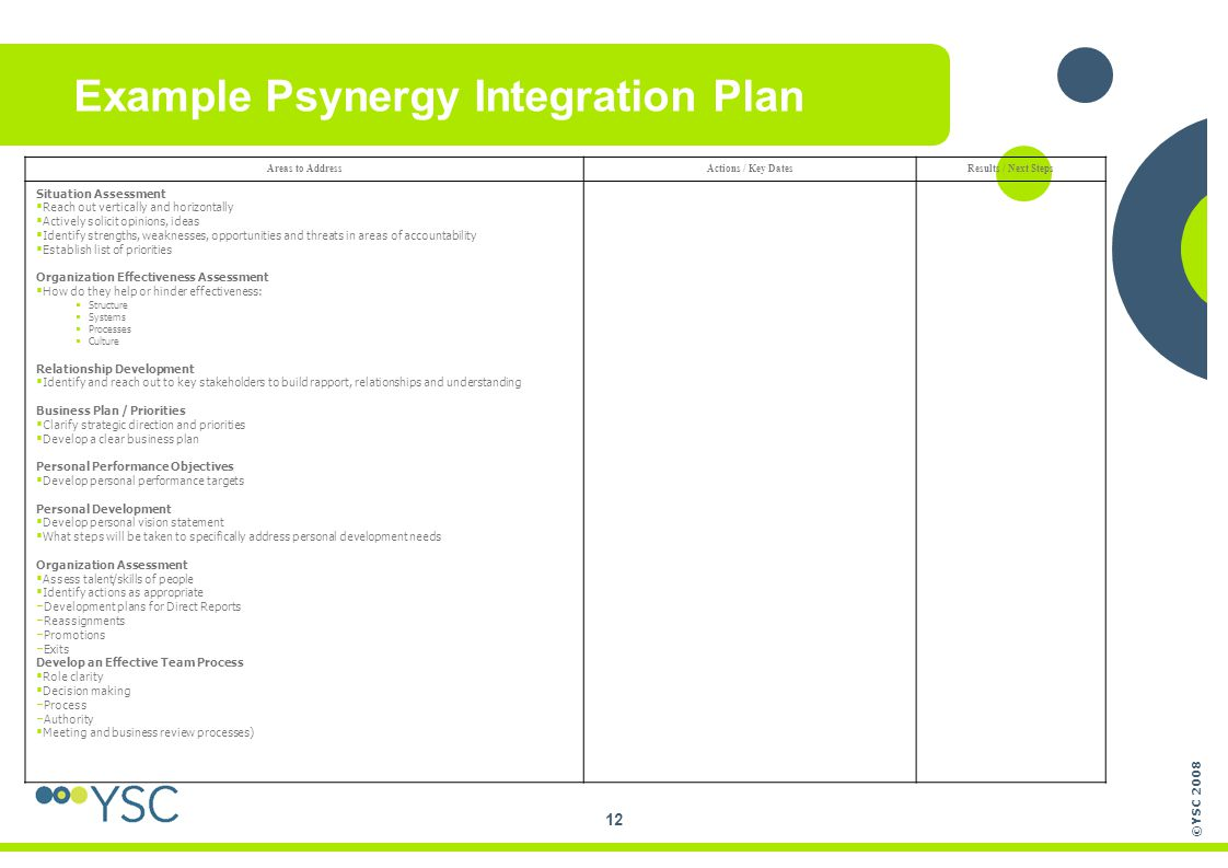 Example Psynergy Integration Plan