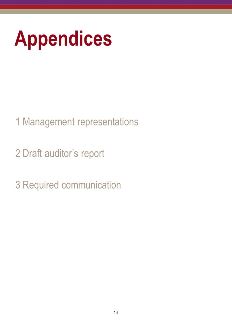 Appendices 1 Management representations 2 Draft auditor's report