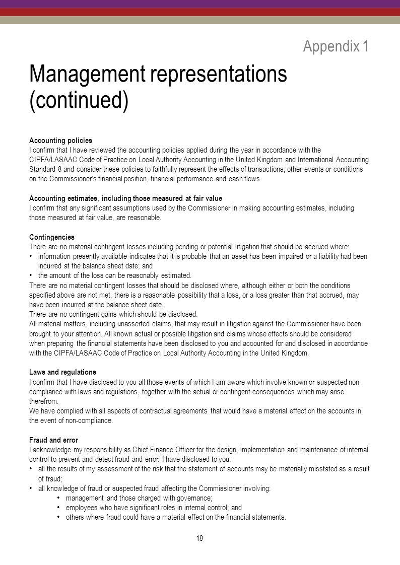 Management representations (continued)