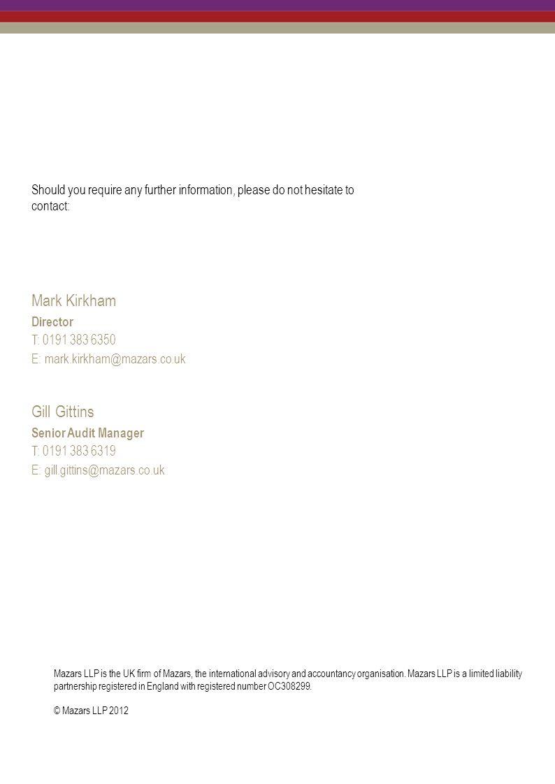 Mark Kirkham Gill Gittins Director T: 0191 383 6350