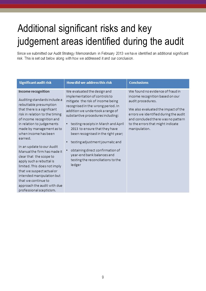 Additional significant risks and key judgement areas identified during the audit