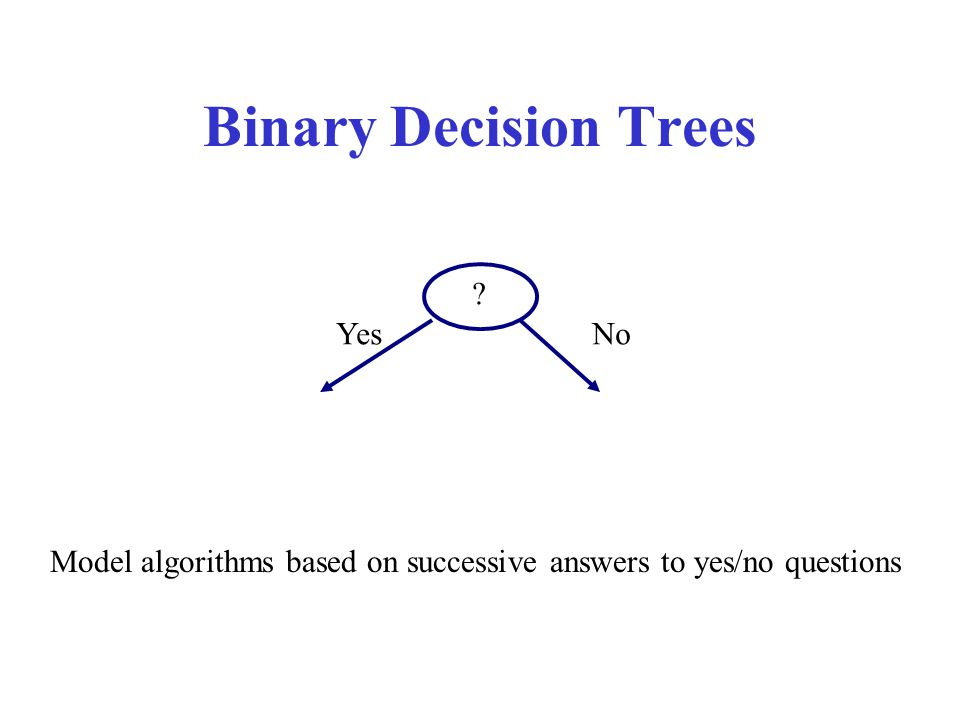 Binary Decision Trees Yes No