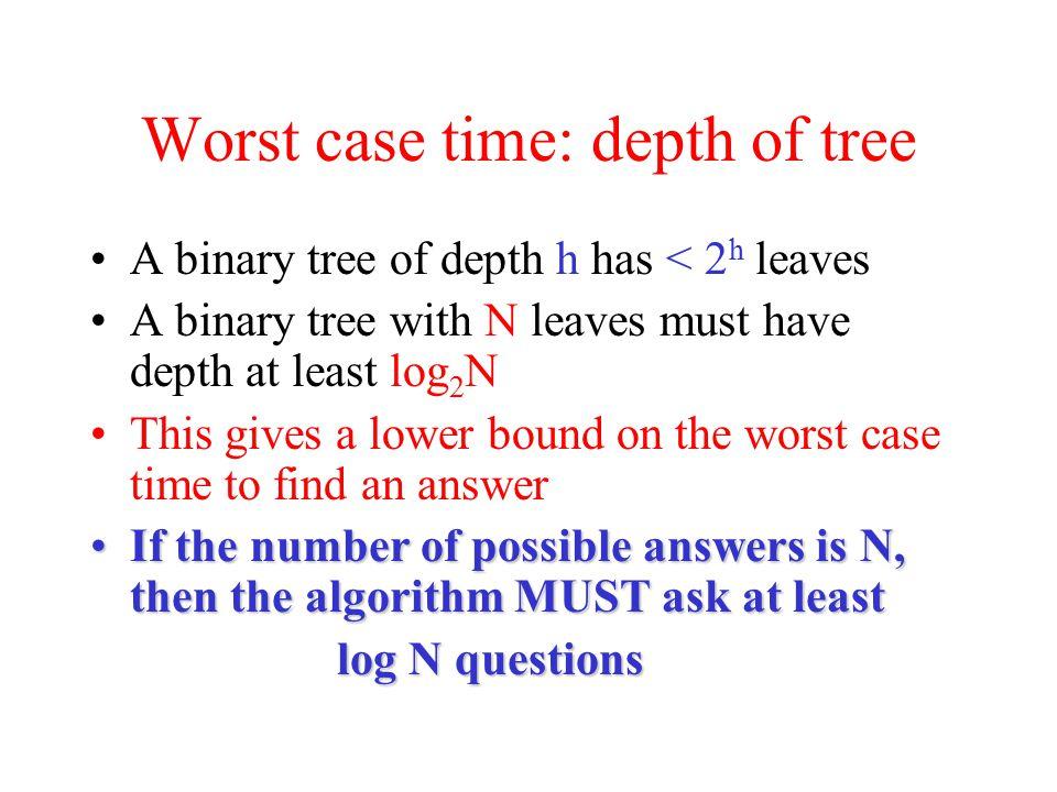Worst case time: depth of tree
