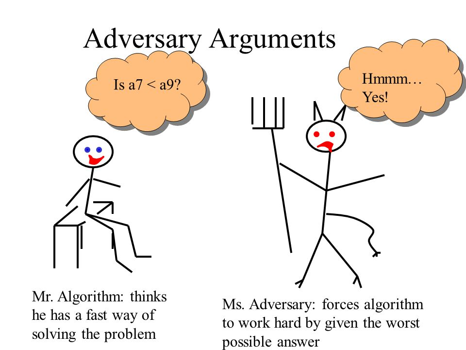 Adversary Arguments Hmmm… Yes! Is a7 < a9