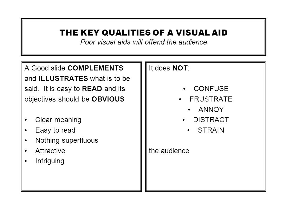 THE KEY QUALITIES OF A VISUAL AID Poor visual aids will offend the audience