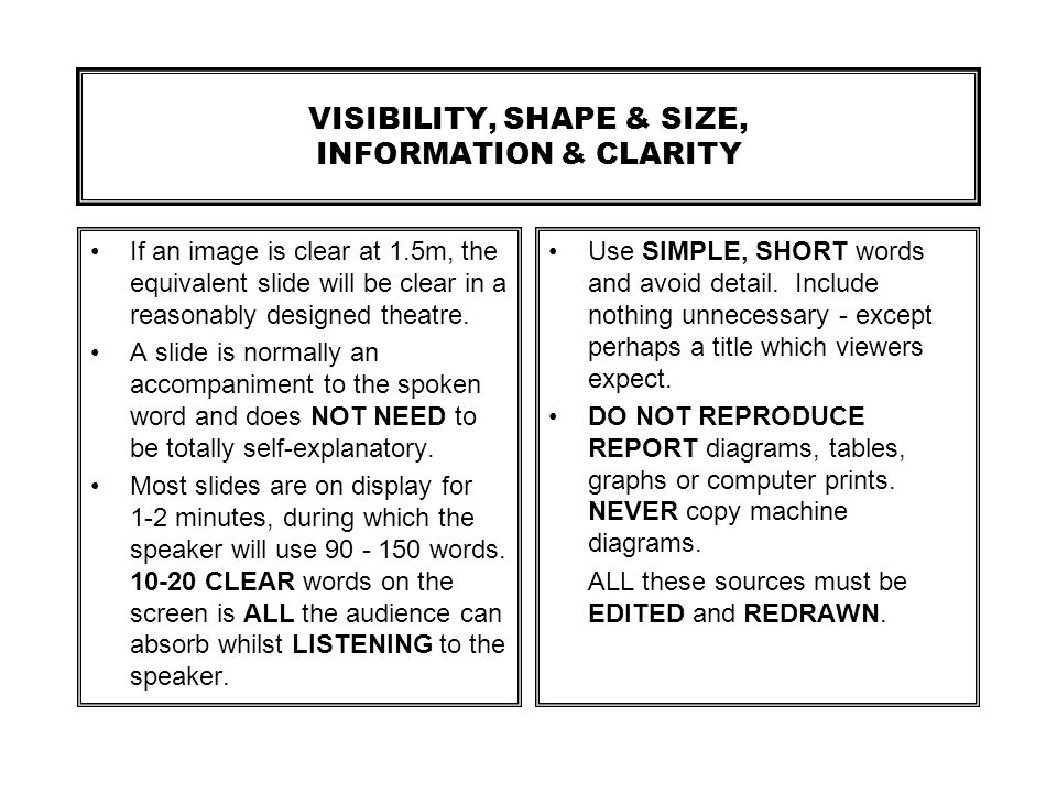 VISIBILITY, SHAPE & SIZE, INFORMATION & CLARITY