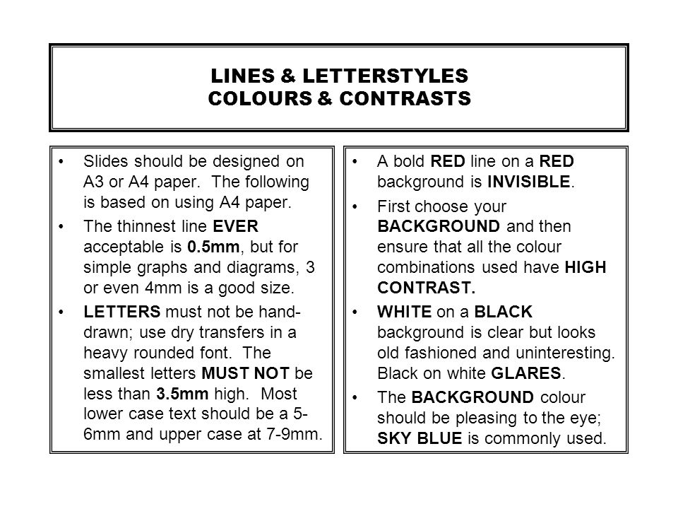 LINES & LETTERSTYLES COLOURS & CONTRASTS