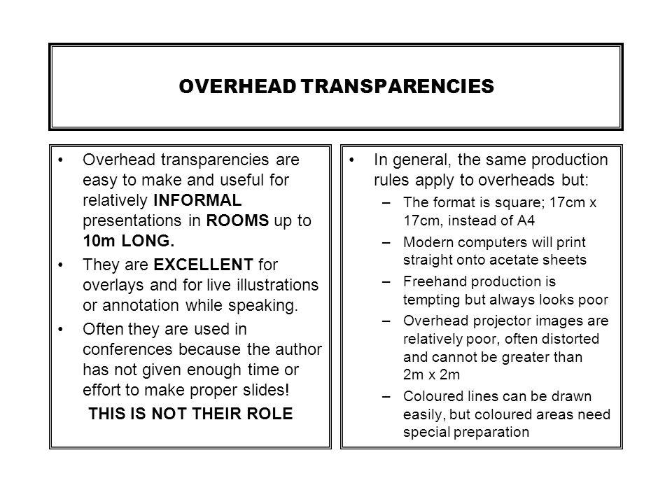 OVERHEAD TRANSPARENCIES