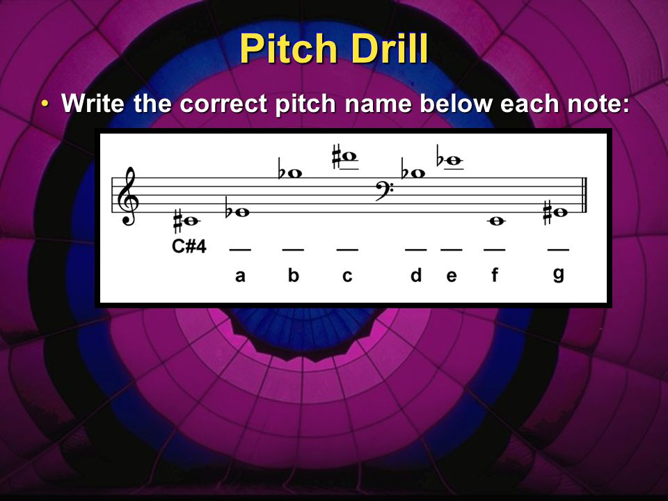 Pitch Drill Write the correct pitch name below each note: