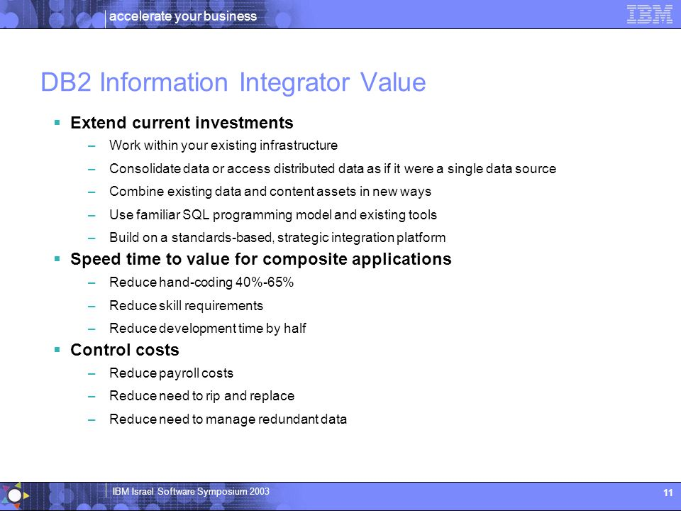 DB2 Information Integrator Value