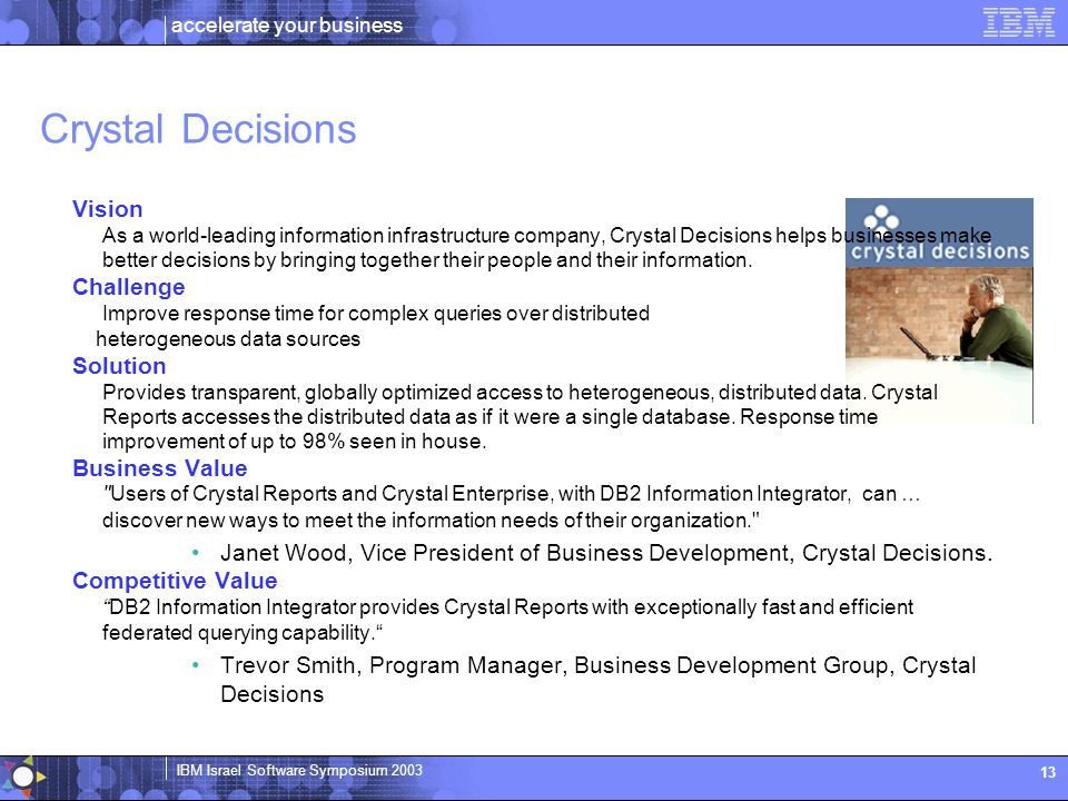 Crystal Decisions Vision Challenge Solution Business Value