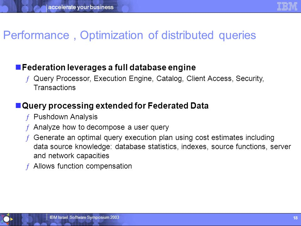 Performance , Optimization of distributed queries