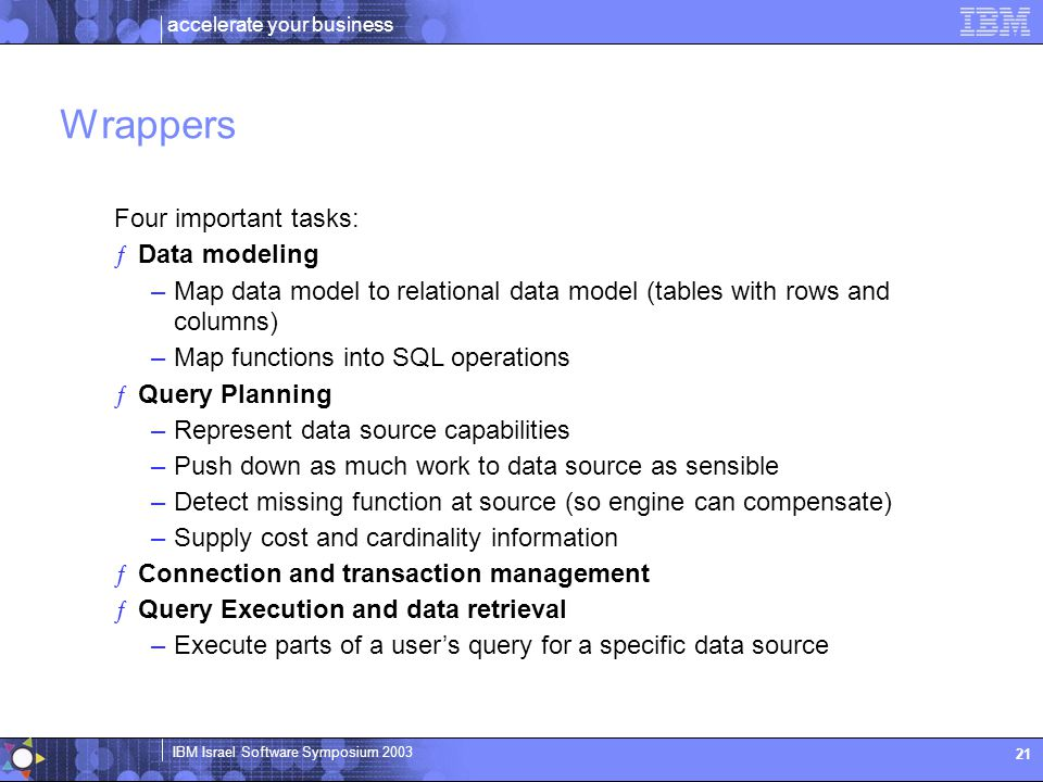 Wrappers Four important tasks: Data modeling. Map data model to relational data model (tables with rows and columns)