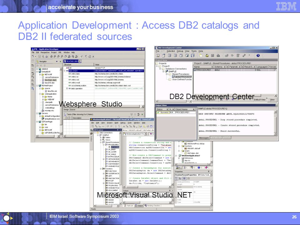 Application Development : Access DB2 catalogs and DB2 II federated sources