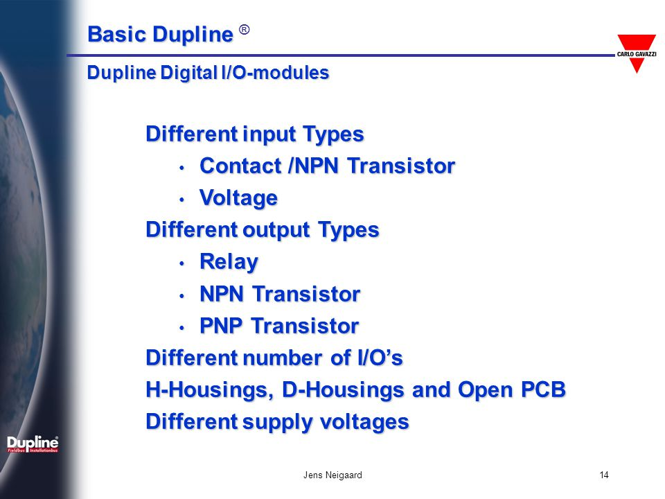 Contact /NPN Transistor Voltage Different output Types Relay