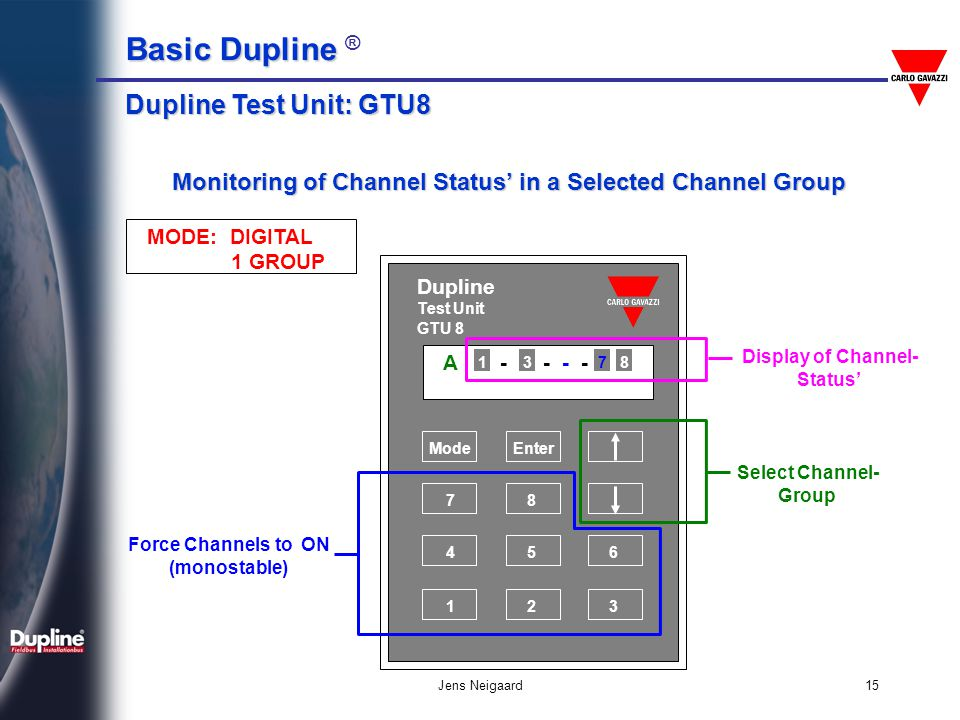 Dupline Test Unit: GTU8 Monitoring of Channel Status' in a Selected Channel Group. MODE: DIGITAL.