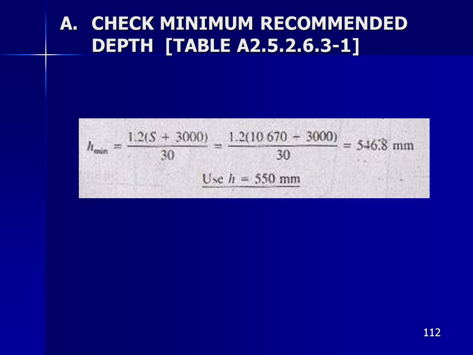 CHECK MINIMUM RECOMMENDED DEPTH [TABLE A ]
