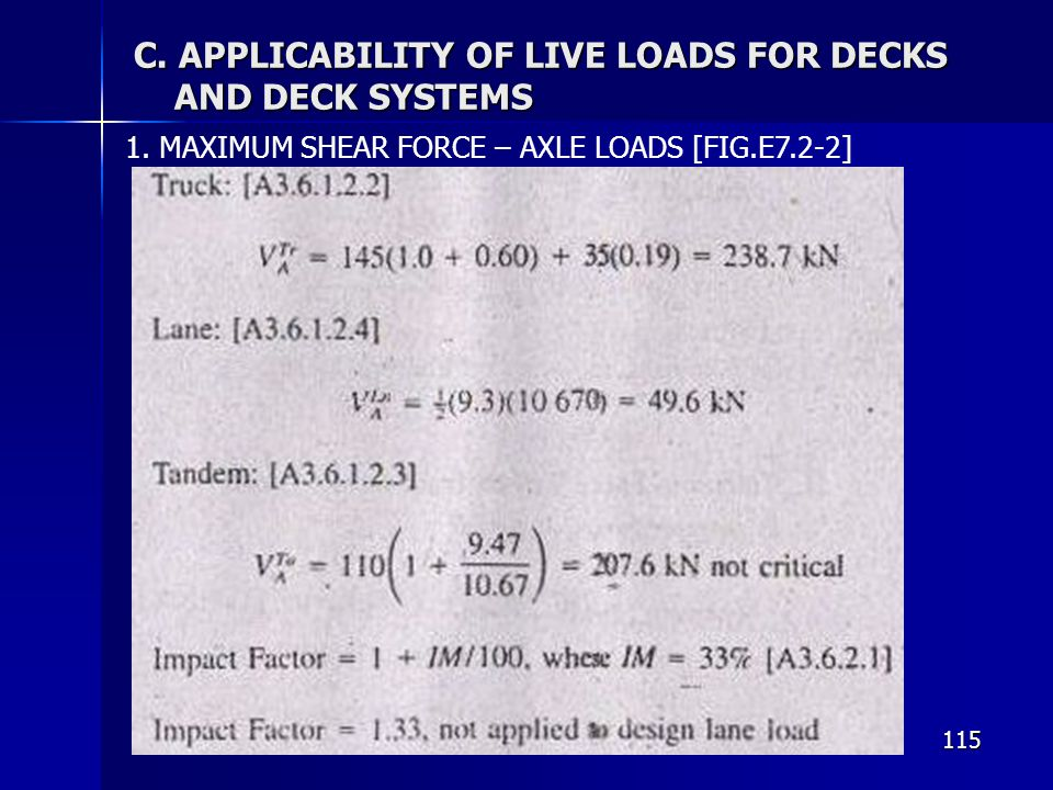 C. APPLICABILITY OF LIVE LOADS FOR DECKS AND DECK SYSTEMS