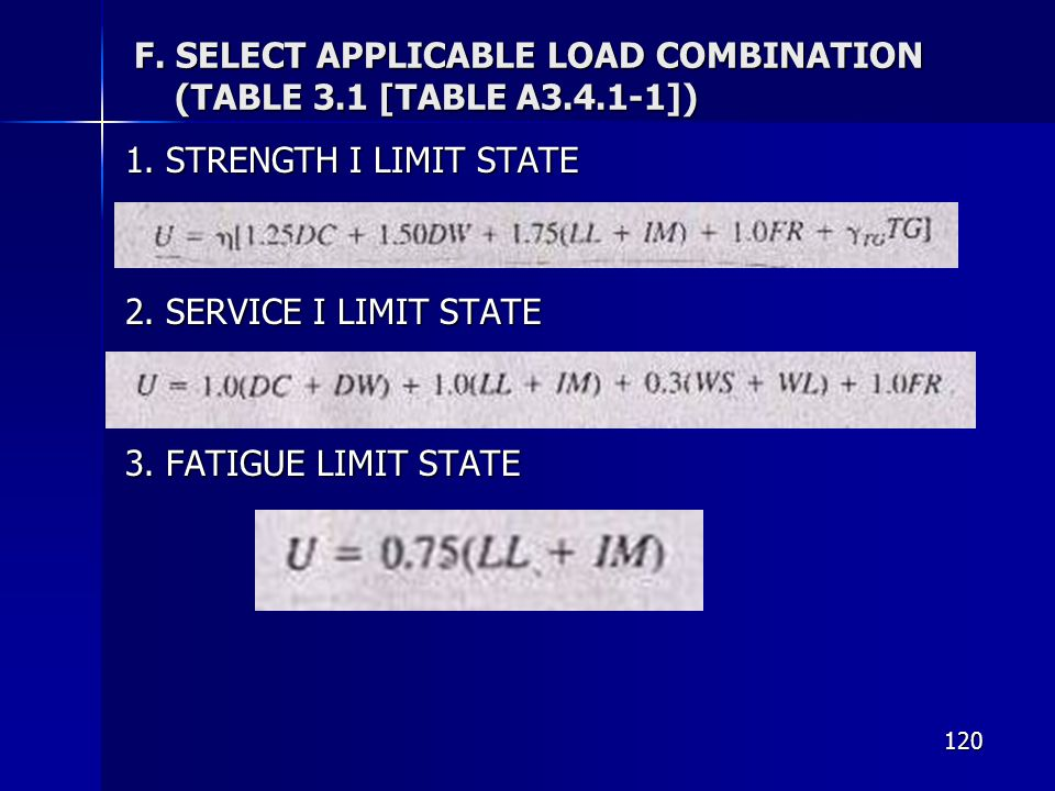 F. SELECT APPLICABLE LOAD COMBINATION (TABLE 3.1 [TABLE A ])