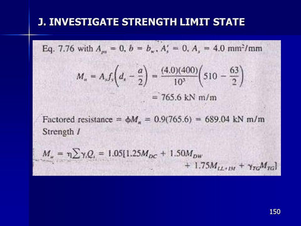 J. INVESTIGATE STRENGTH LIMIT STATE
